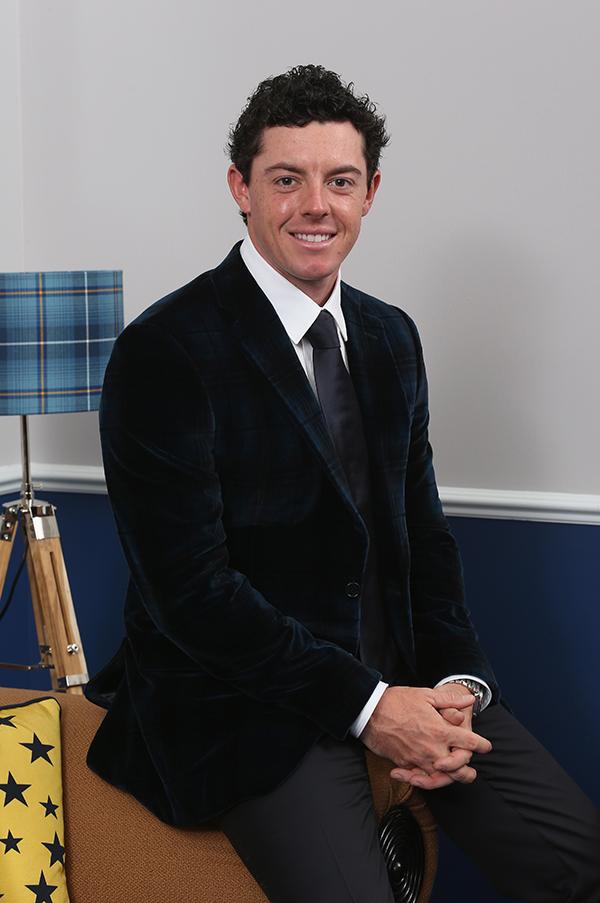 Rory McIlroy poses for a photograph at the Gleneagles Hotel before leaving for the Ryder Cup Team Gala Dinner.
