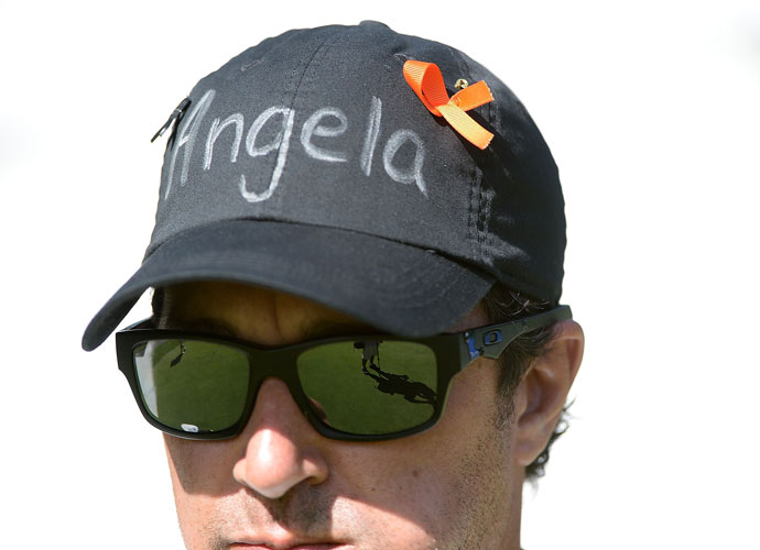 Round 1                         A hat is worn in memory of Angela Bennett, who passed away unexpectedly Wednesday. Bennett is the wife of longtime PGA Tour caddy Lance Bennett, who works with Matt Kuchar.