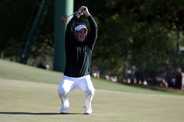 Rory Sabbatini's comments about Tiger Woods garnered most of the attention, but the South African can really play. Here, he drained an eagle putt on the eighth hole Sunday at the Masters. Sabbatini tied for second at Augusta National with Tiger Woods and Retief Goosen.