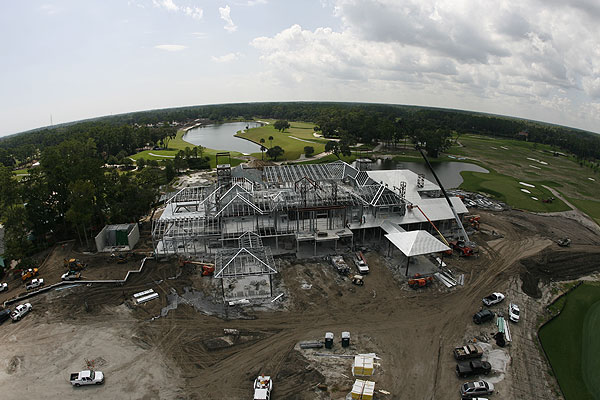 """I documented the construction of the new clubhouse at TPC Sawgrass in Ponte Vedra Beach, Fla. I took this shot from a hydraulic lift with a Canon 15mm full-frame fisheye lens. I exaggerated the horizon by tilting the lens down while also taking in the foreground below me."""