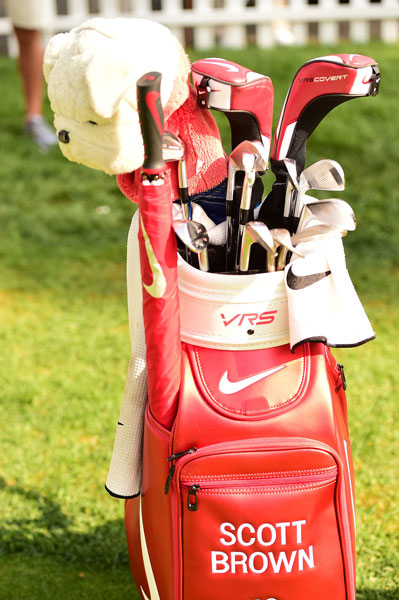 Georgia native Scott Brown digs Nike's VRS Covert woods, forged irons, and red-themed everything. His Georgia Bulldog headcover fits right in.