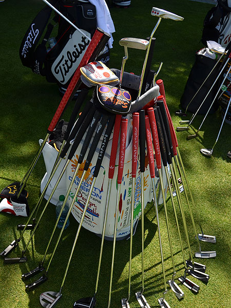 Simpson's win was the third in a row by a golfer using a belly putter. For players interested in trying one, Titleist reps had several Scotty Cameron models on hand, along with several traditional-length prototype putters.