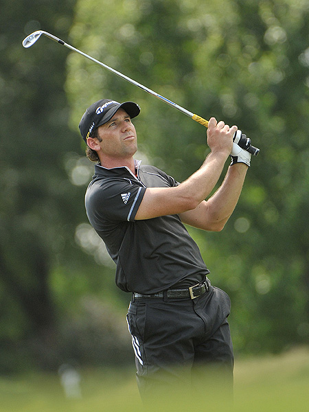 Sergio Garcia made five bogies and a double bogey Friday. He fell from fourth to 14th place after scoring a 72.