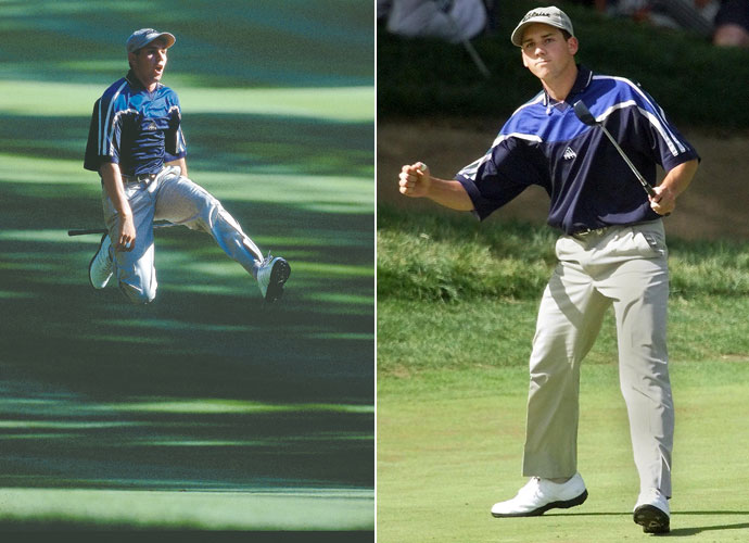 Everyone remembers Sergio's shot from the tree roots and leap on the 16th hole (left) during the final round of the PGA Championship at Medinah. But let's not forget the glare Garcia gave Woods after birdieing the par-three 13th that day (right). We know Tiger never did.