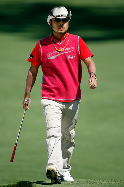 9. Shingo Katayama, 2009 Masters                     Though Katayama rarely plays in the States these days, his perennially youthful style and penchant for bright colors and dramatically curved hat brims makes him a fun addition to any tournament. I usually love the idea of lifestyle pieces doubling as golfwear, but this is the Masters, and unfortunately Katayama went one step too far into overly casual territory.