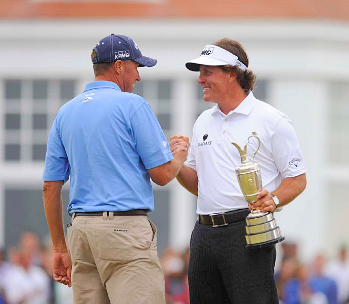 August 2013: With his win at the British Open at Muirfield, Phil Mickelson completes the career Grand Slam.