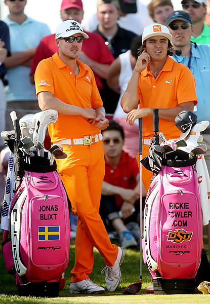 BEST COSTUME, UM, DESIGN?                       When Jonas Blixt was paired with Rickie Fowler for the final round of the Barclays, he showed up cloned, head-to-toe, in Fowler neon-orange -- right down to the white belt and the flat-brim Puma hat. The fans were charmed, but the golf gods weren't. Blixt shot 81.