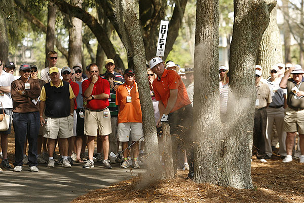 Being forced to play shots like this one kept Brandt Snedeker from contending for the lead. A Sunday 76 left him in a tie for 53rd.