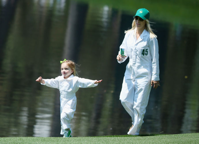 Mandy Snedeker and daughter Lily make their way along the Par 3 Course.