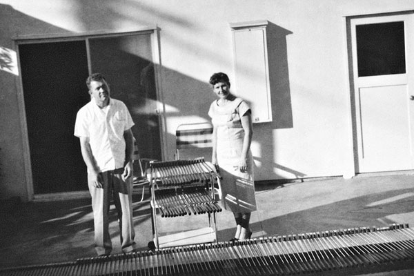 Solheim and his wife, Louise, posed in the backyard of their Redwood City, Calif., home in 1959 with several Ping putters waiting to be sold.