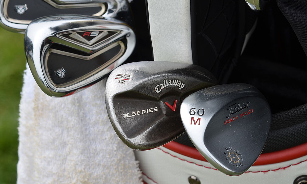 Spencer Levin is playing R9 TP irons, an X Series JAWS gap wedge and a Titleist Vokey Design Spin Milled lob wedge.