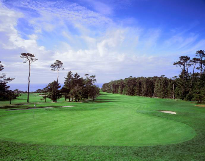 10. Spyglass Hill -- No. 6, 446-yard Par-4                                          Stroke Average: 4.400                      On a course full of rugged tests, the 446-yard, par-4 6th at Spyglass Hill proved toughest of all during the course's role as co-host of the AT&T Pebble Beach National Pro-Am. Its uphill climb through the pines and away from the ocean is further complicated by bunkers, rough and an elevated green.