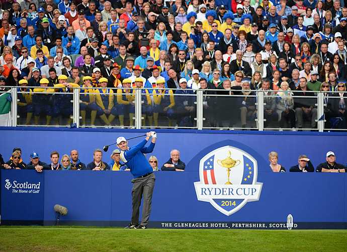 Stephen Gallacher tees off on Sunday.