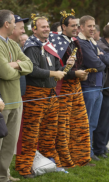 2002                       If he goes there, they will come. Some serious Tiger Woods fans made it to The Belfry in 2002, but they came away disappointed: the Americans lost 15 1/2 to 12 1/2.