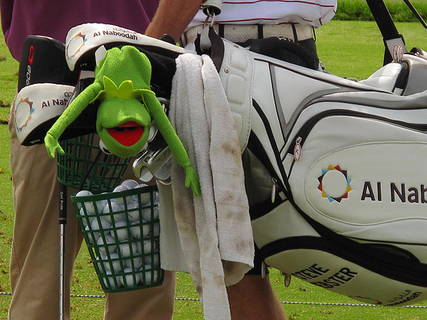 had Kermit the Frog dangling from his bag as he walked to the first tee.