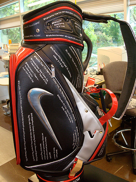 is using a Nike golf bag covered with encouraging and inspirational Twitter messages. You can read more about the bag by clicking here.
