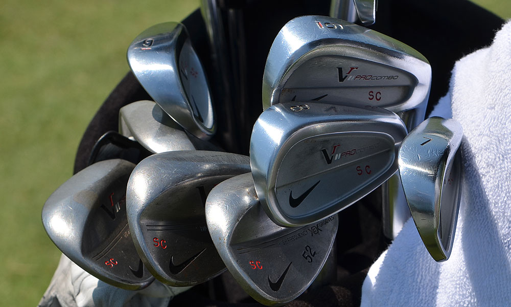 Stewart Cink practiced at Colonial using these Nike VR Pro Combo irons, but he later withdrew from the tournament.