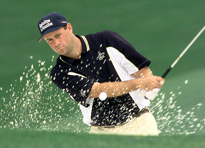 "The Case of the Suspended Bunker Shot                       THE DEFENDANT: Stewart Cink                       THE CASE: When play was suspended during the second round of the 1999 Masters, Cink marked his ball, which was in a bunker, with a tee. When he returned to resume play, he replaced his ball and lifted the tee, bringing some of the sand up with the tee. After Cink removed the tee, some sand was now sitting directly behind his ball. ""[Before the suspension], I had a perfect lie,"" Cink recalls. ""Now there was a cone of sand behind the ball."" So he flicked the sand away.                       Go to the next page for the verdict."