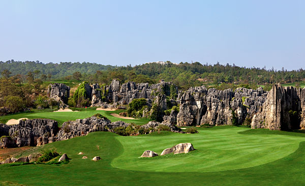 "Stoneforest International Country Club, Kunming, Yunnan, China                     Doing a perfect Gary Player impersonation, designer Brian Curley said of his course in the mountains of southwestern China, ""This is one of the most unique sites ever made available for golf."" Stoneforest is more spectacular than any other new inland course in the world. The best and newest of a three-course complex situated at 6,500 feet, this fantasy-calendar design zigzags through ancient karst limestone rock formations adjacent to a national park designated as a World Heritage Site by the United Nations. The course technically opened in June 2011, but with the Chinese government playing Ping-Pong on whether to enforce its 2004 moratorium on mainland course construction and operations, it's anyone's guess as to whether enough ranking panelists will have access by the '13 vote. If they do, it will be hard to keep a course this memorable out of the Top 100."