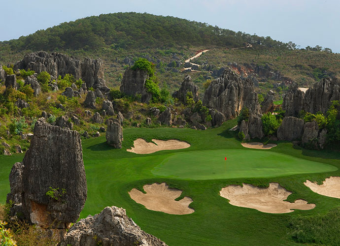 Stoneforest International (Yufeng Ridge), Kunming, China                       Nearly as spectacular as its younger sibling, Leaders' Peak, this 2010 Brian Curley design also boasts a fantasy-calendar layout that features one hole after the next cocooned by incredible rock spires.