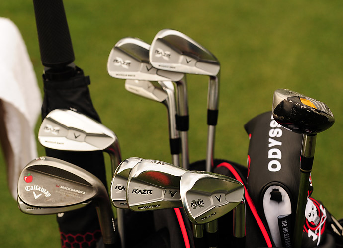 Australian Stuart Appleby carries Callaway RAZR X forged irons, an Odyssey putter, and Mac Daddy2 wedges complete with custom graphics.