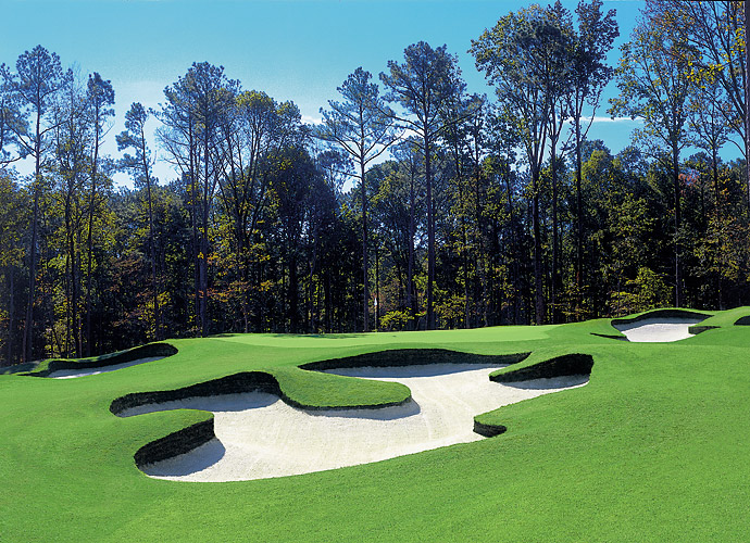 10. TPC Sugarloaf in Duluth, Ga.: Formerly the longtime home to the PGA Tour's Atlanta stop, this retrofitted residential design sports hilly lies, mammoth, rolling greens, closely mown chipping areas and innovative, free-flowing sod wall bunkers. What elevated the drama quotient at tournament time were the drivable par-4 13th, where a bold tee shot that scurries through a narrow gap could set up eagle, and the 576-yard, downhill, par-5 18th, with its two-level fairway and daunting, water-carry approach.