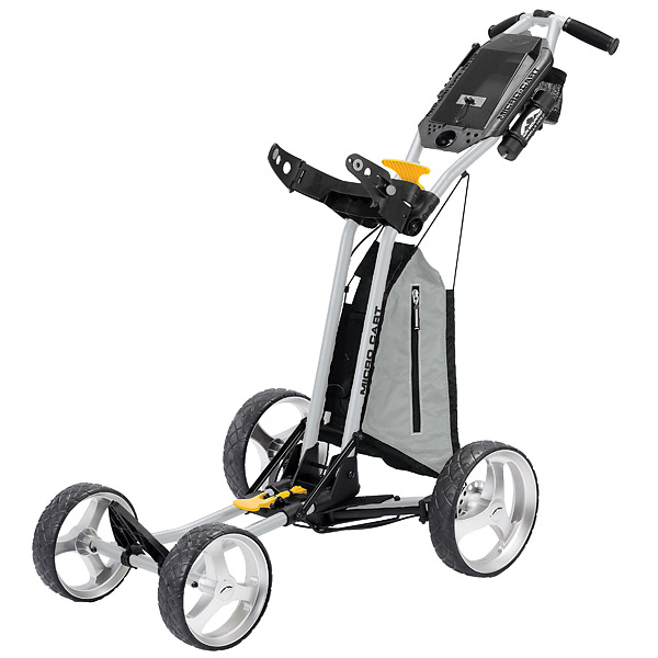 Sun Mountain Micro-Cart, $190; sunmountain.com                       Sporting four wheels and weighing in at only 13 lbs., the Micro-Cart comes with no assembly required (the cart folds and unfolds in two easy motions) and is easily transported, folding down to a mere 52 cubic inches.