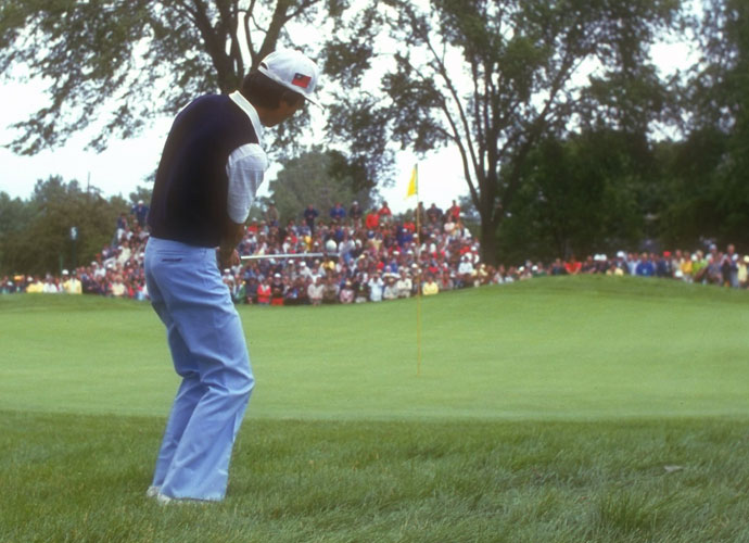 TC Chen-  The 1985 U.S. Open at Oakland Hills seemed to be Chen's for the taking when he found himself in the rough at the fifth hole on Sunday. That's where he hit his infamous double chip, which led to an eight on the hole. Chen's four-shot lead disappeared to eventual champion Andy North.