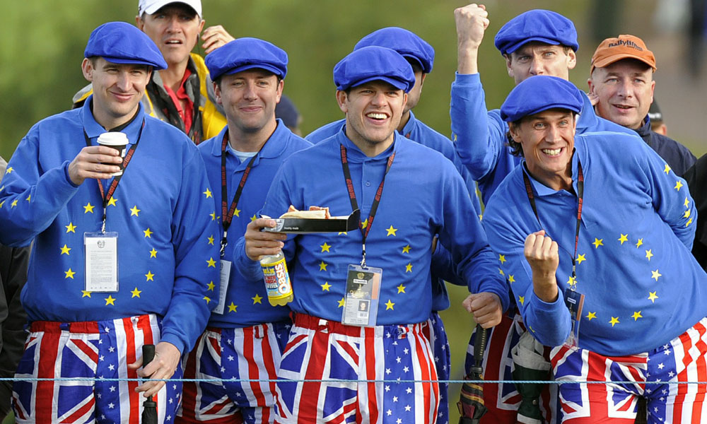 The European Team gave these uniformed Euros something to cheer about at Celtic Manor in 2010, where they beat the Americans by one point.