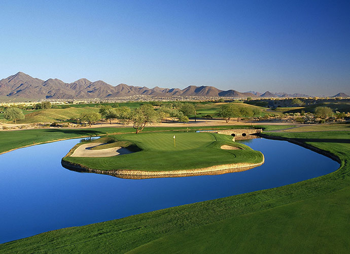 "TPC Scottsdale (Stadium), Scottsdale, Ariz., Hole 15, 558 yards, par 5: Architects Tom Weiskopf and Jay Morrish were best known for their drivable par-4s, but at the TPC Scottsdale, they dished out their version of an island green on a par-5. Choose the proper tees and it's reachable by most, but with water in play on every shot, it's a 3 or 7 kind of a hole. Says 2002 PGA Champ Rich Beem, ""It has been one of the best risk/reward holes we play."""
