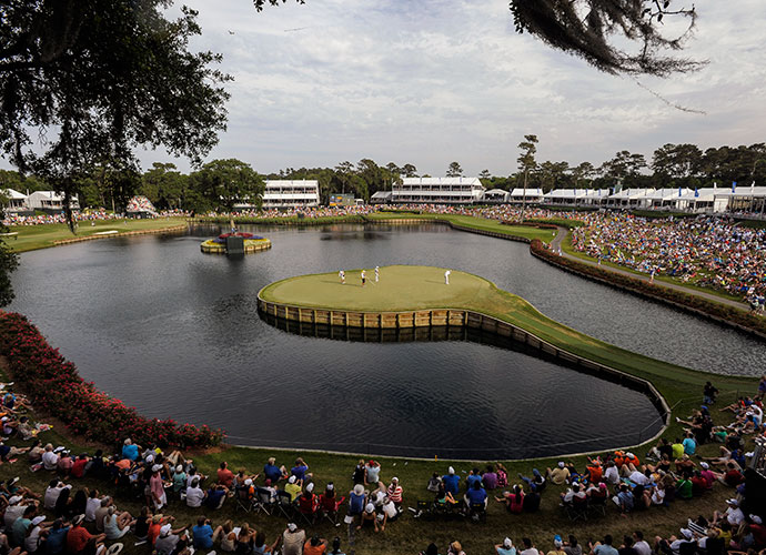 Golf's defining sweaty-palms hole is the island-green 17th at Sawgrass. It seems so simple, just a short iron, but there's nowhere to hide. Bob Tway made 12 here in 2005, with four balls in the drink and a three-putt, while its most recent victim was Sergio Garcia in 2013. Tied for the final-round lead with Tiger Woods at 13-under, Garcia rinsed two balls on his way to a 7.