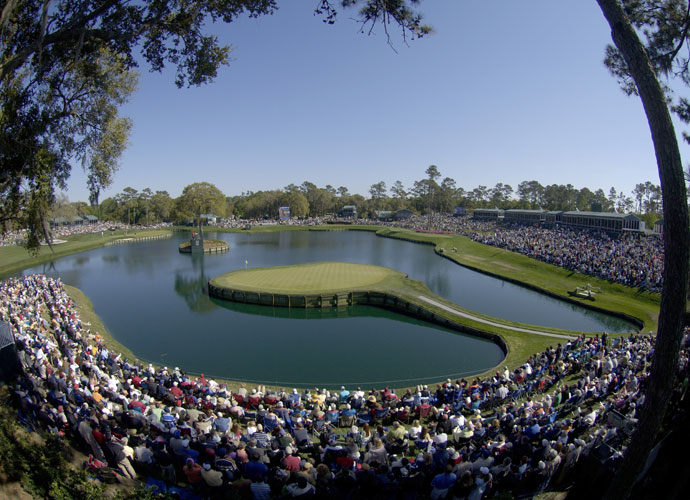 The 17th Hole at TPC Sawgrass                         Island, peninsula, call it what you will. It's one of the most nerve-ratting holes in golf. Pete Dye never intended for it to be surrounded by water. He made it that way at the suggestion of his wife, Alice, and the rest is history. Bob Tway made a 12 there during the 2005 Players Championship. Miguel Angel Jimenez aced it in 2002. Of course he did.