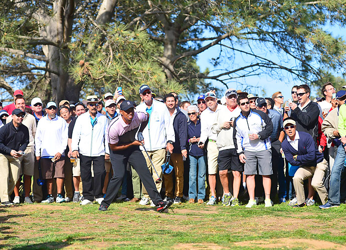 Thursday                       Tiger Woods opened with an even-par 72 in the first round of the Farmers Insurance Open.