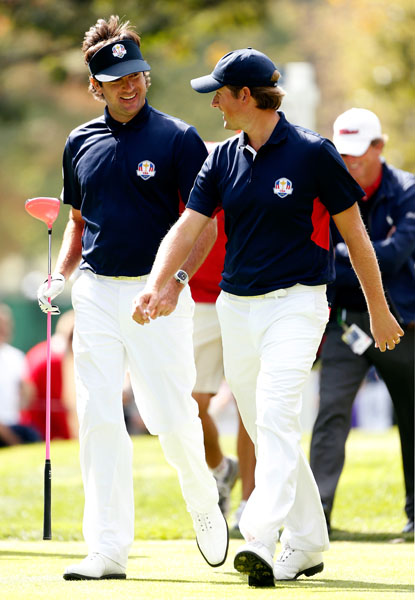 BEST TEAM UNIFORM: While Team USA lost this year's heart-stopping Ryder Cup, they walloped the Europeans in the Ryder Cup of Style. This practice round ensemble from Polo Ralph Lauren was my favorite of the week. The white pants looked crisp and clean, and the navy blue polo had a fun pop of color under the arm.