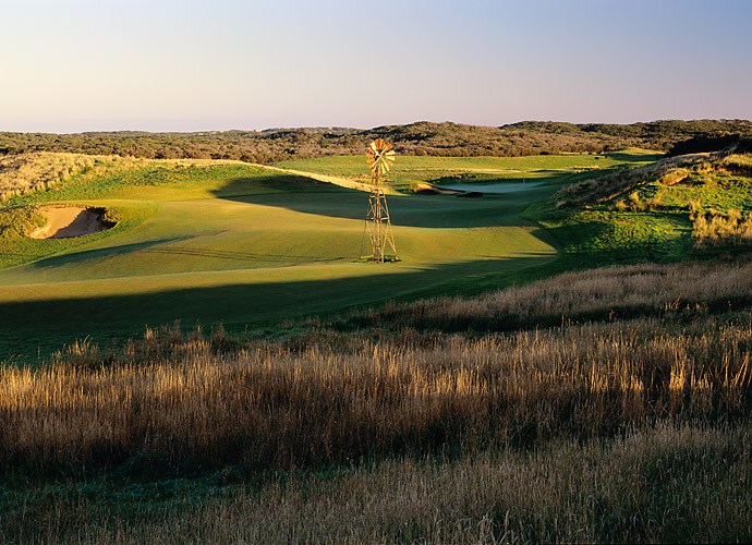 5. The National (Moonah) in Cape Schanck, Victoria, Australia: Ninety minutes south of Melbourne, in the unfortunately named (for golfers) town of Cape Schanck, is a hilly, 13-year-old track dominated by more than 80 vast, wild-looking bunkers and by a set of equally massive, humpy-bumpy greens, most of which are propped up well above the fairways.