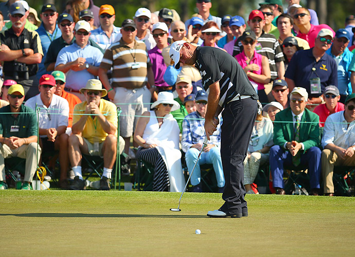Thomas Bjorn battled for the lead all day but struggled at the end to finish at -2.