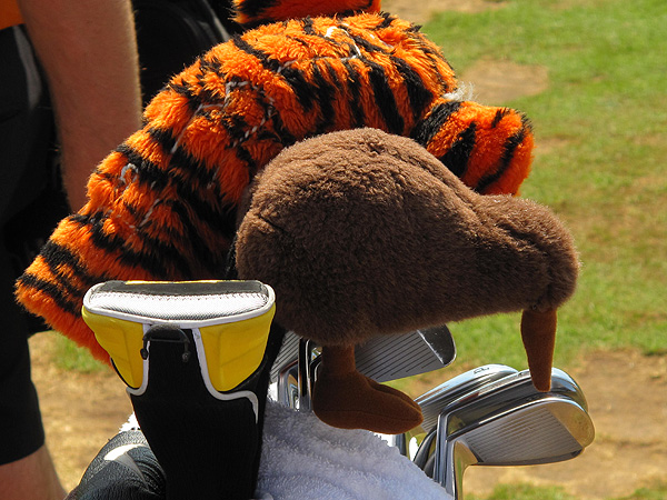 covers his Nike SQ Dymo 380 driver with a tiger headcover, and his SQII 5-wood with a kiwi, in honor of his New Zealand-born caddie, Steve Williams.