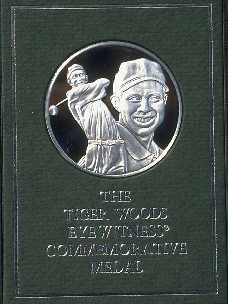 "Franklin Mint                     Tiger Woods sued the Franklin Mint in 1998 after the company created an unauthorized commemorative coin to celebrate his 1997 Masters win. According to the Associated Press, Woods received ""a substantial monetary settlement"" and a permanent injunction was put into effect that bars the Franklin Mint from using his name and likeness."
