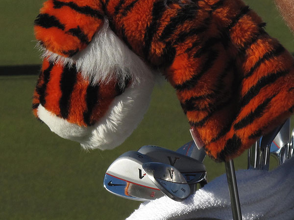 Tiger Woods is using a set of Nike Victory Red Forged TW Blades and Nike Victory Red Forged wedges.