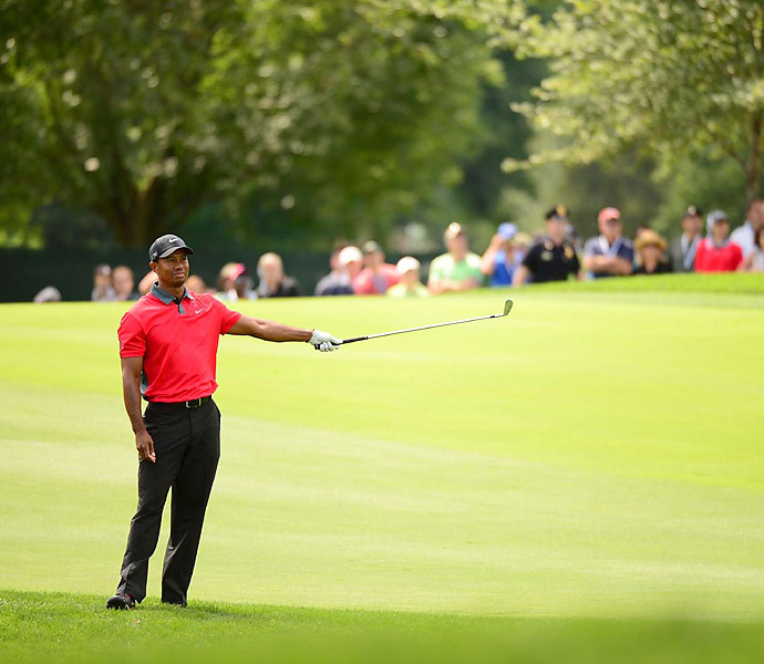 "One week after blitzing the field at Firestone, Woods was a nonfactor at the PGA Championship, where he struggled to hit fairways and tied for 40th, extending his major drought to more than five years. ""I put four good rounds together last week [at Firestone]. Unfortunately, it wasn't this week,"" Woods said."