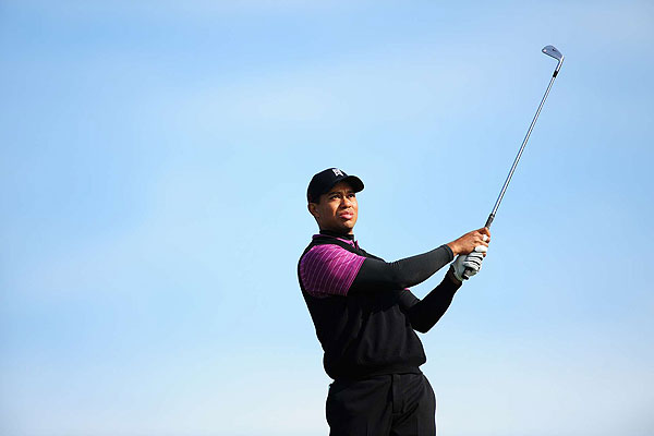 Tiger on the third tee Saturday.