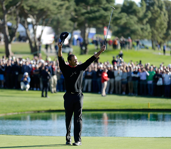 Woods rebounded quickly from the controversy in the Middle East by rolling to a four-stroke victory at the Farmers Insurance Open. It was his eighth career victory at Torrey Pines.