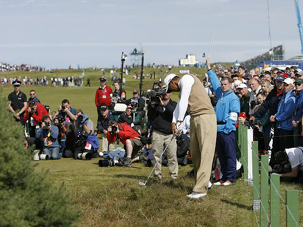 Tiger Woods hit his tee shot on No. 6 just inside the out-of-bounds markers on the left side of the fairway. While he eagled the hole Thursday, he had to scramble to make par Friday. His 69-74 puts him seven shots off Garcia's lead.