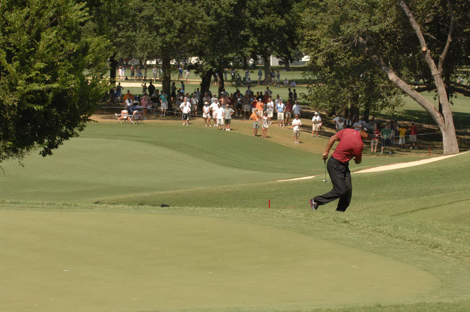 After holing a birdie putt on No. 8, Tiger unleashed his biggest fist pump of the day.
