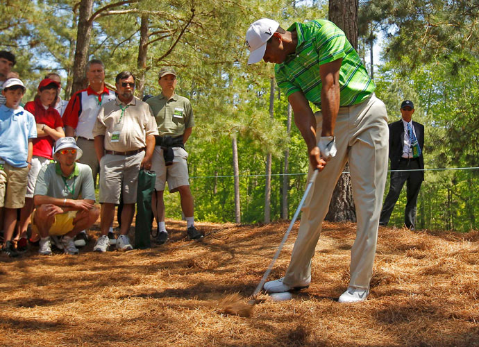 2011 | Setback                         Woods slips while hitting a shot from the pine straw under a tree on 17 at the Masters, where he goes on to finish T4. The diagnosis: a grade-one mild medial collateral ligament sprain to his left knee and a mild strain to his left Achilles' tendon. He skips the Wells Fargo Championship at Quail Hollow.