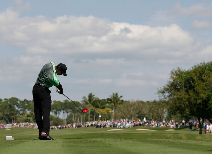 Tiger Woods connects on a drive in the second round.