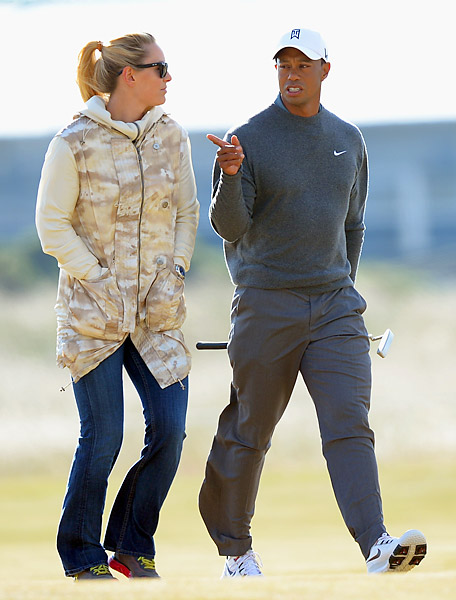 U.S. skier Lindsey Vonn joined her boyfriend Tiger Woods for his practice round at Muirfield on Monday.