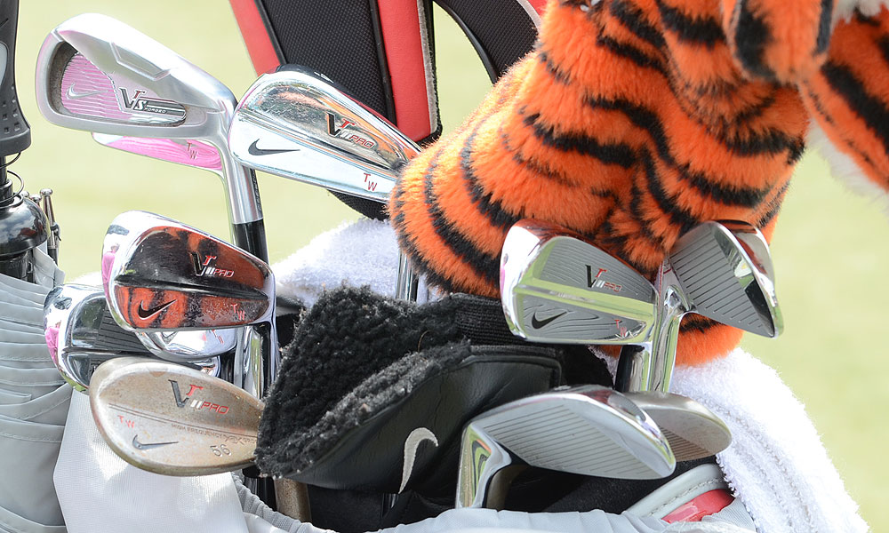Tiger Woods has continued to use Nike VR Pro blade irons, but added a VR_S Forged 3-iron (top left) to his set.