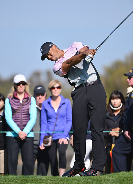 Woods played Torrey Pines' more difficult South Course on day one, the site of his 2008 U.S. Open win.