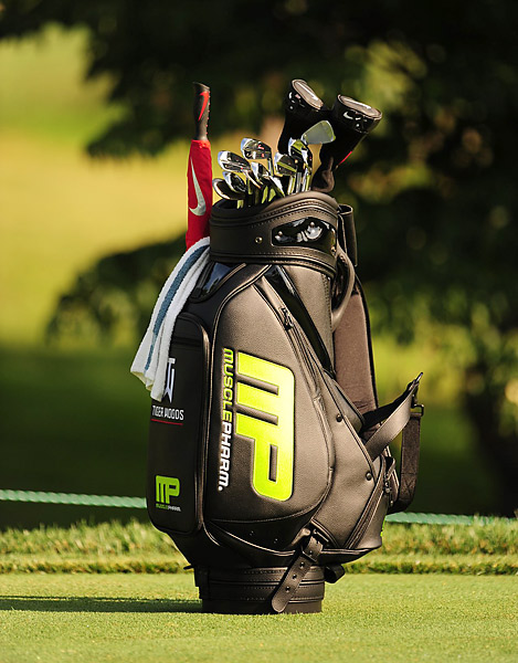 Tiger Woods debuted his new golf bag with the MusclePharm logo on it at Congressional.